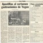 Apostillas al certamen gastronómico de Yegen (Diario de Granada, 19/01/1983)