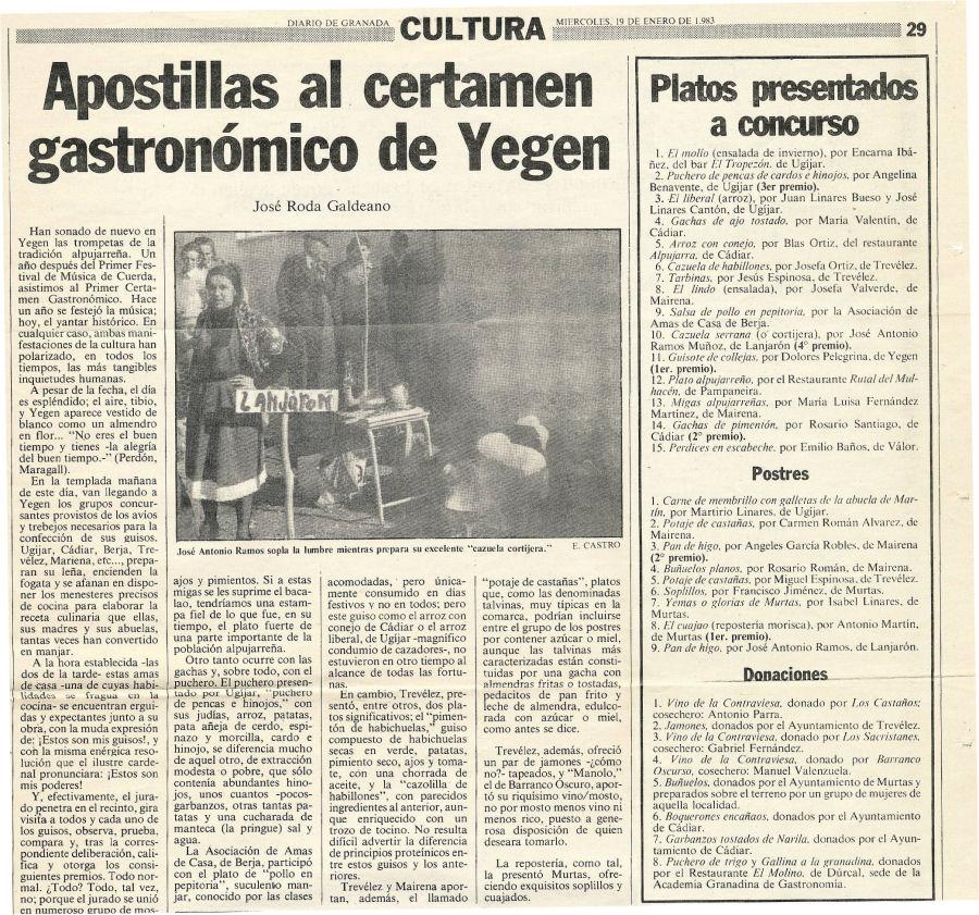 Apostillas al certamen gastronómico de Yegen | Diario de Granada