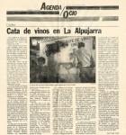 Cata de vinos en La Alpujarra (Diario de Granada, 11/10/1983)