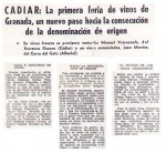 Cádiar: La primera feria de Vinos de Granada, un nuevo paso hacia la consecución de la Denominación de Origen (Ideal, 11/10/1983)