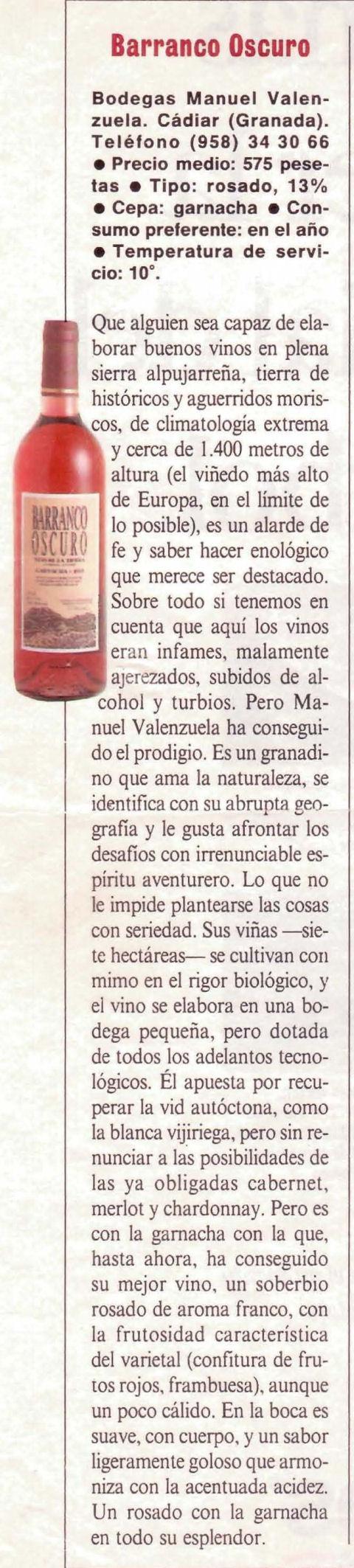 Barranco Oscuro Rosado Garnacha | El Pais Semanal