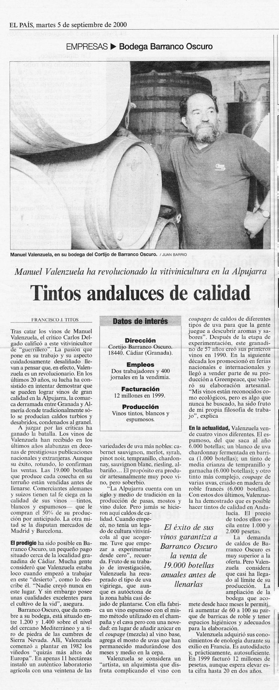 Tintos andaluces de calidad (El Pais, 05/09/2000)