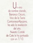 Los mejores vinos de 2000. Barranco Oscuro Tempranillo (Gourmets, julio 2001)