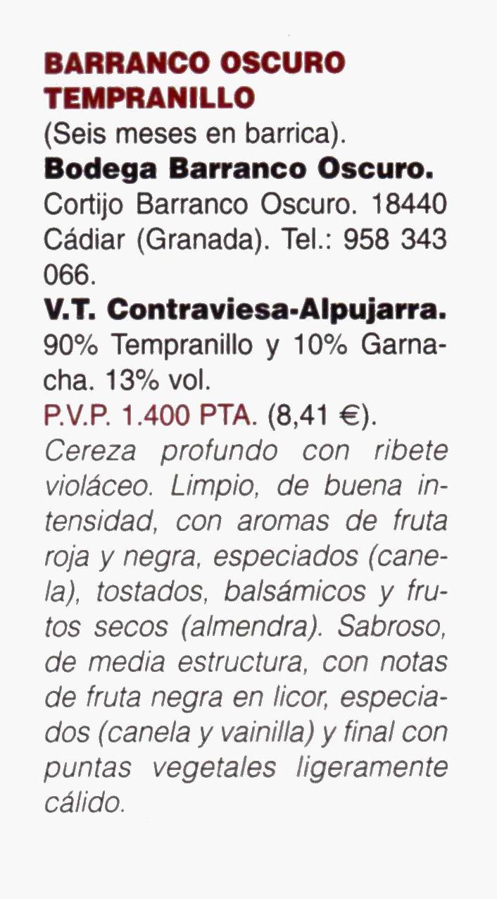 Los mejores vinos de 2000. Barranco Oscuro Tempranillo | Gourmets