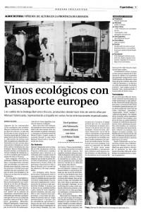 Vinos ecológicos con pasaporte europeo (Ideal, 12/10/2003)