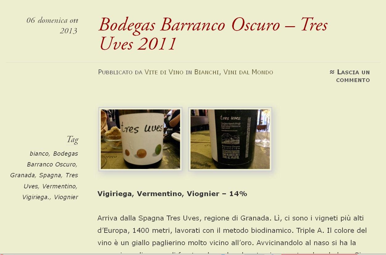 Bodegas Barranco Oscuro – Tres Uves 2011 | VITE DI VINO